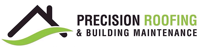 Precision Roofing and building maintenance long logo New